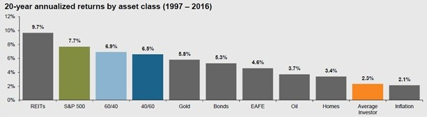 Chart of 20 year annualized returns by asset class